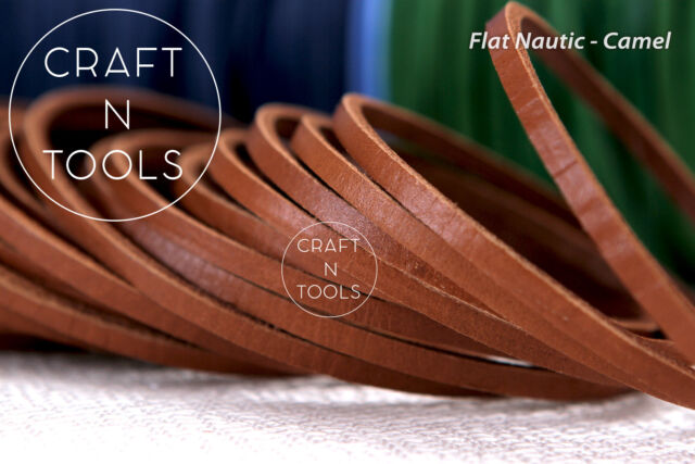 Leather Cord Flat Nautic 3.5x3.0mm, Natural Cord, Leather Strip, Bracelet Cord