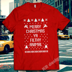 HOME-ALONE-T-SHIRT-MERRY-CHRISTMAS-YA-Filthy-Animal-T-Shirt-Regalo-di-Natale