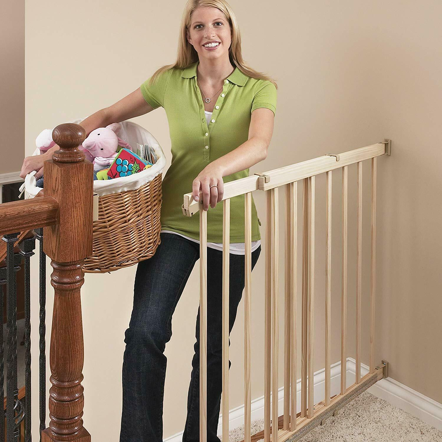 Evenflo Top of The Stair Extra Tall Hardware Mount Gate Baby Dark Wood 3DAYSHIP
