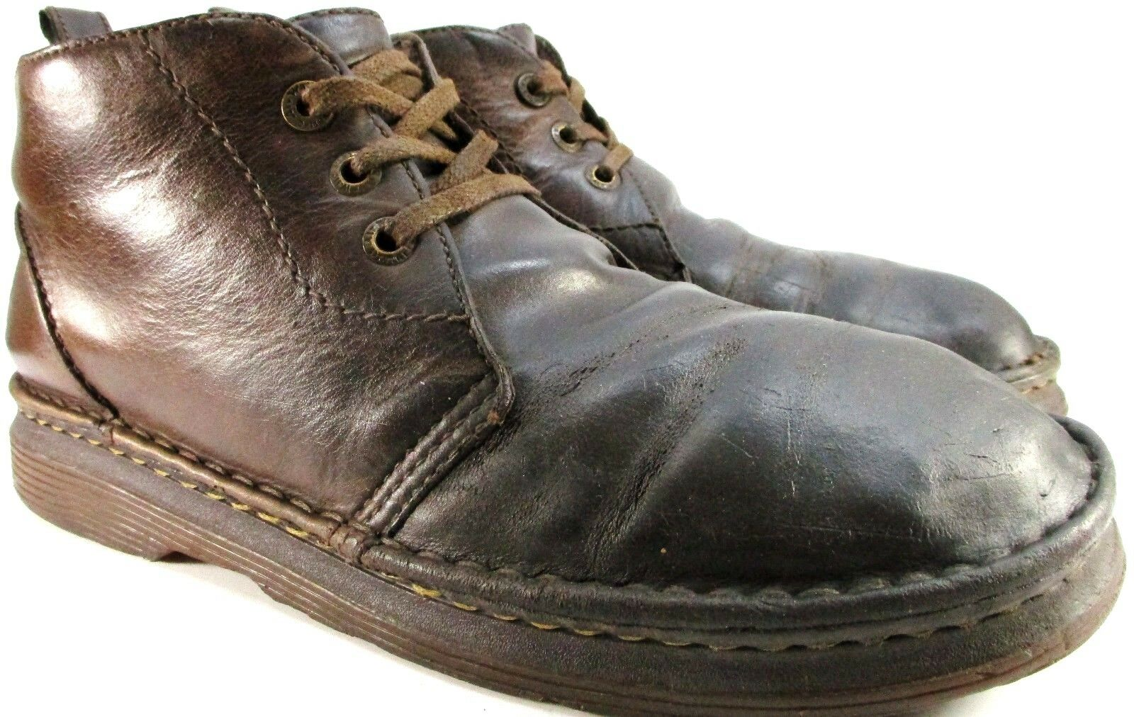 Dr Martens Vtg Uomo Pelle  Ankle Desert Stivali Size 12 Brown Cushioned Insole