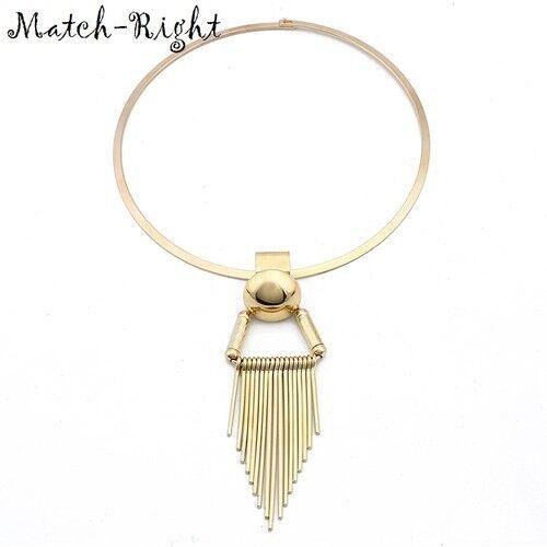 Necklace Statement Tassel Pendant Women Chain Choker Jewelry Crystal Chunky Bib