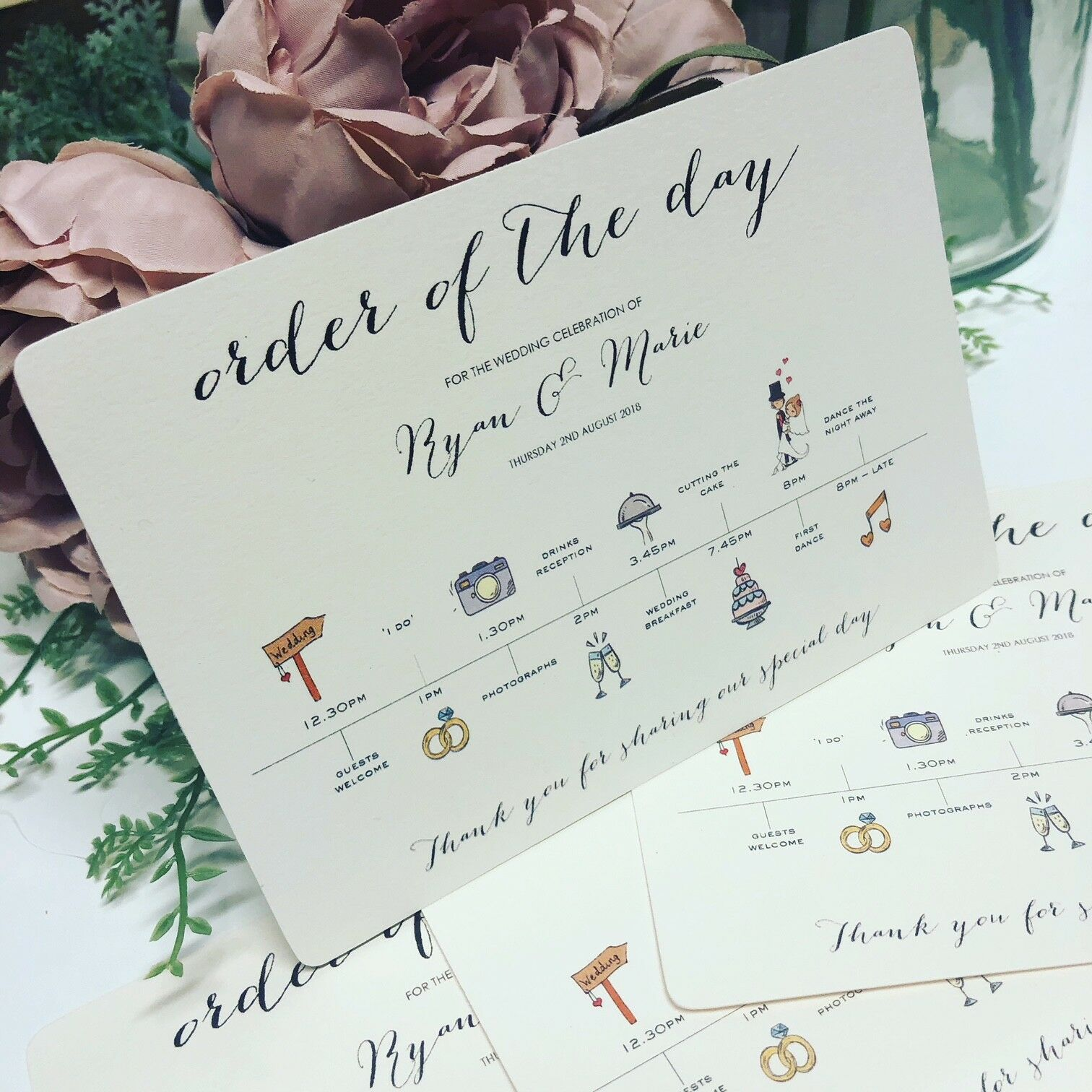 50 x Personalised Wedding Order of the Day guest information time line cards