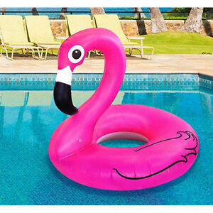 Giant Flamingo Shaped Pool Float Ring Raft Swimming Water Fun UK