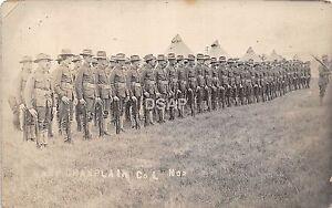 C22-Plattsburg-New-York-NY-Soldiers-RPPC-Postcard-c1908-Camp-Champlain-Co-L