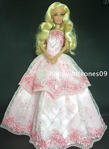 Pink-Embroidered-Barbie-Doll-Wedding-Party-Evening-Dress-Clothes-Outfit-BrandNew