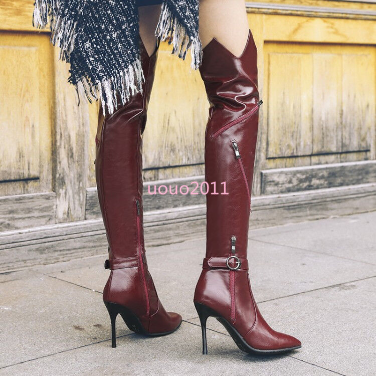 Women Sexy High Stielttos Heels Pointy Toe Zip Over Knee Boots Club Knight Shoes