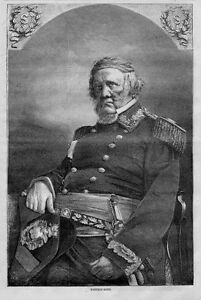 CIVIL WAR LIEUTENANT GENERAL WINFIELD SCOTT PORTRAIT, 1866 ENGRAVING, HISTORY