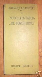 NOUVELLES-TABLES-DE-LOGARITHMES-Hachette-1955