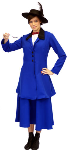 BLUE Victorian-Edwardian MARY POPPINS Fancy Dress Costume ADULT SIZES