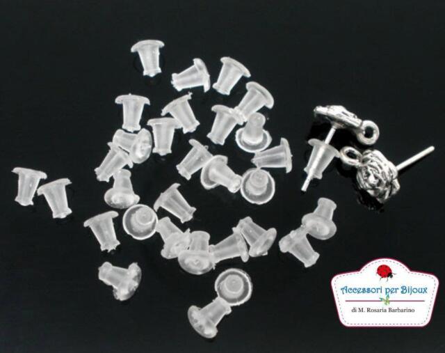 50 Gommini in Gomma per Orecchini e Monachelle Bianco 5x5mm