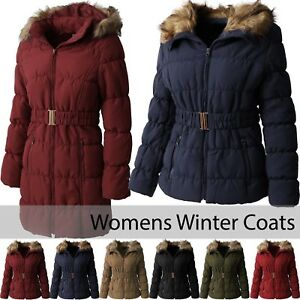 Womens-COAT-FUR-LINED-Jacket-Warm-Quilted-Insulated-Puffer-Winter-Parka-Belt