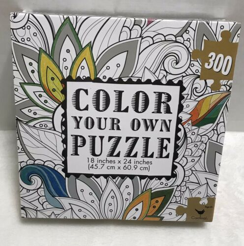 """Details about  /Color Your Own Jigsaw Puzzle 300 Pieces Flower Cardinal NEW /& Sealed 18 x 24/"""""""