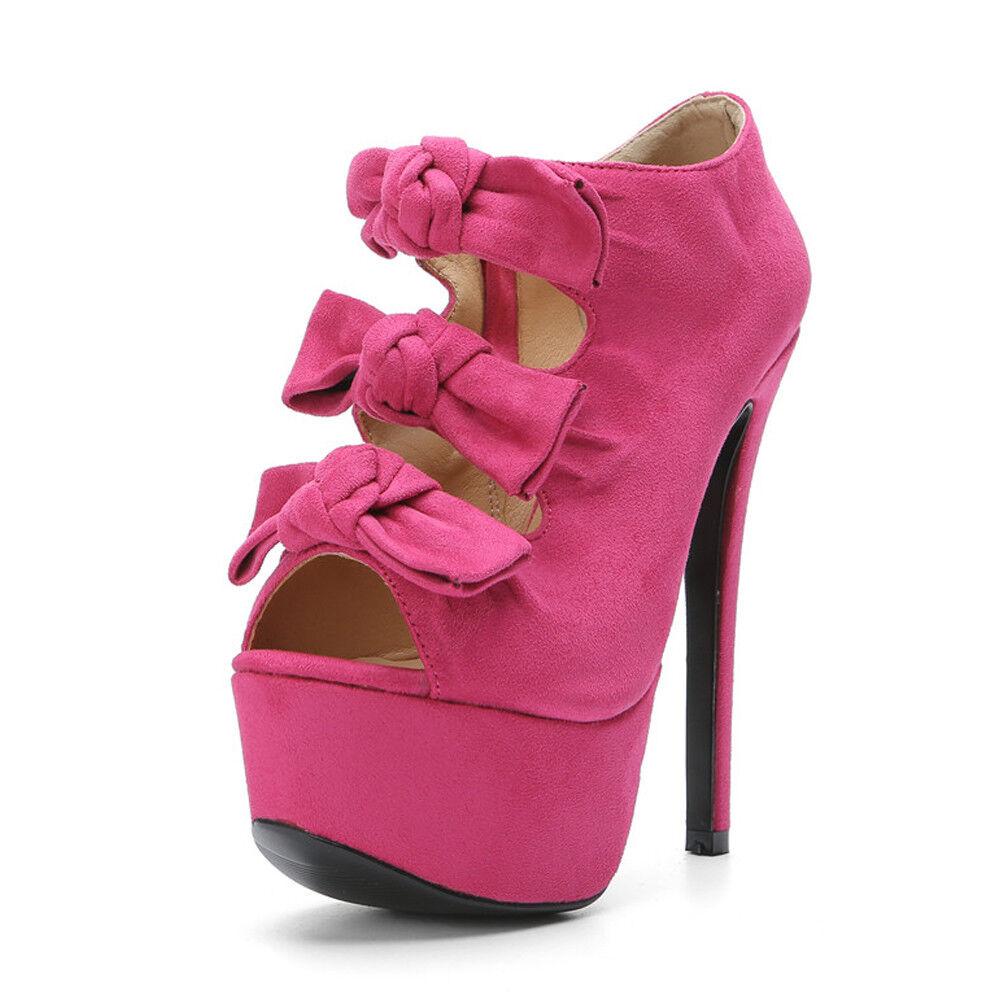 Women Sweet Bowknot Sandals Platform Heels Heels Heels Faux Suede Open Toe Fashion Big shoes 2e918e