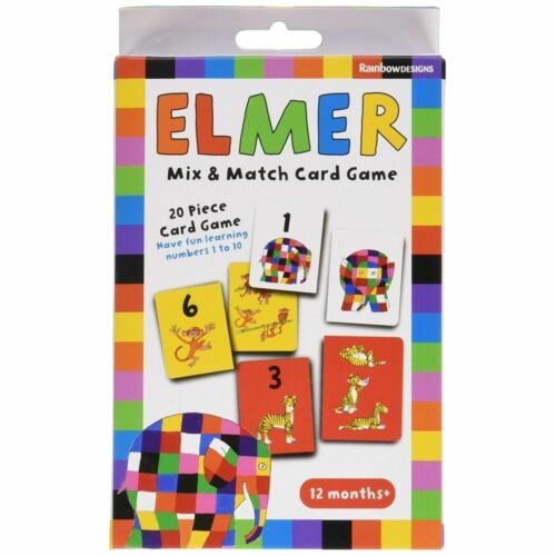 Brand New Learning Numbers Set Elmer Mix Match Card Game For Ages 12 Months