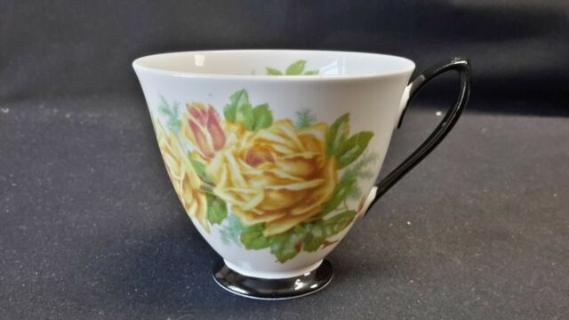 Royal Albert England Bone China Black Handle & Foot Tea Rose Cup