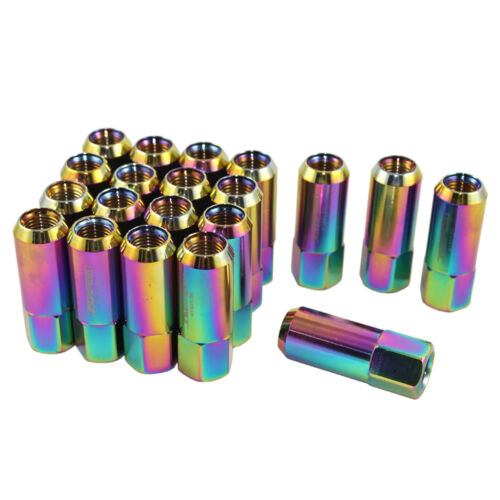 M14X1.5MM ALUMINUM TUNER RACING EXTENDED FORGED 60M LUG NUTS 20PC NEO CHROME