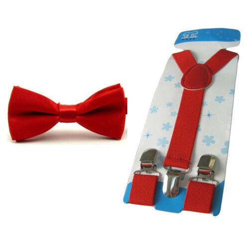 Boy Kid Children Solid Satin Bow Tie Matching Stretch Y-Shape Clip-on Braces Set