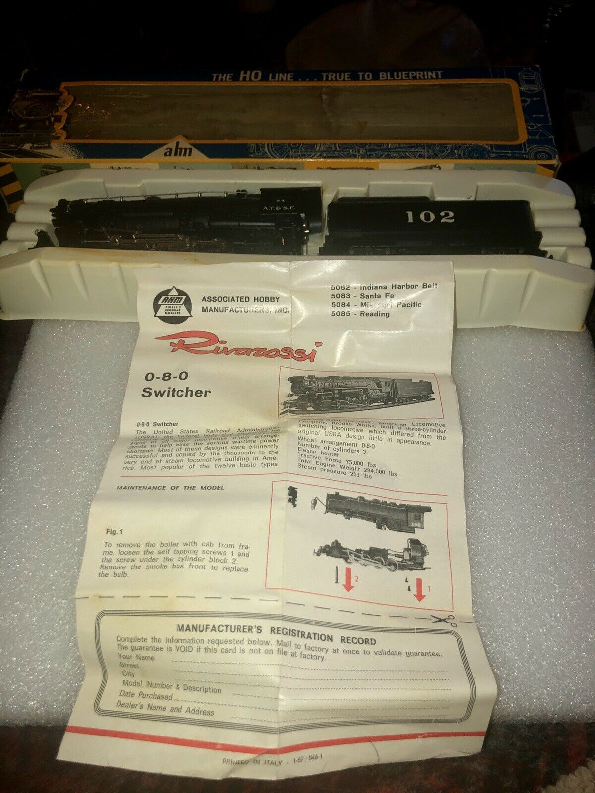 AHM HO SCALE 080 SWITCHER ENGINE 5083 & COAL TENDER 102 w Papers