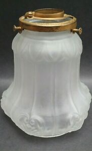 Vintage Light Shade Victorian Lamp Ribbed Antique Frosted Satin Glass GREEN TINT