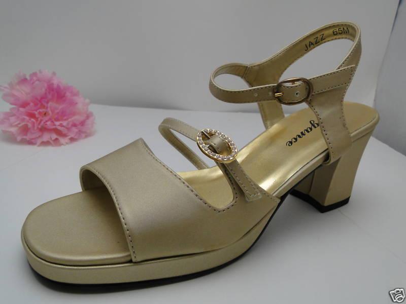 Jazz Gold Rhinestone Low Platform Shoes with Rhinestone Gold Buckle 355322