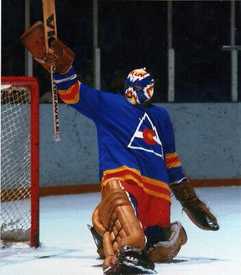 DOUG FAVELL ROCKIES VINTAGE GOALIE MASK NHL HOCKEY 8X10 PHOTO