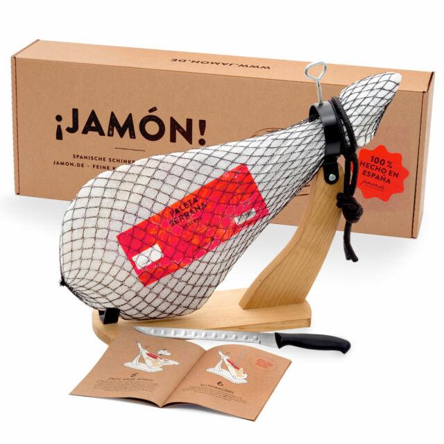 Jamon-Box Nr. 1 – Serrano-Schinken 4,5kg im Geschenkkarton mit Zubehör