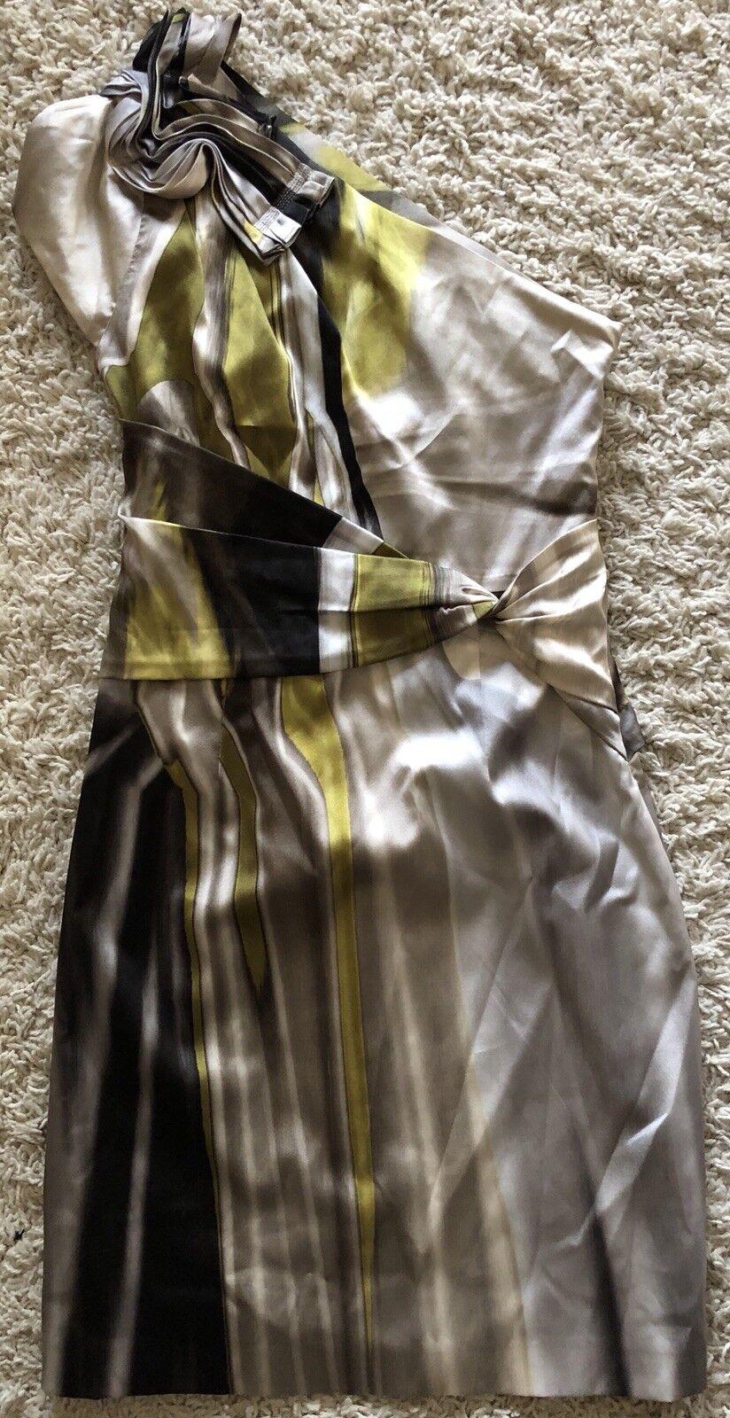 ELIE TAHARI Brown yellow silk one Shoulder short sleeve knee length dress 2 S