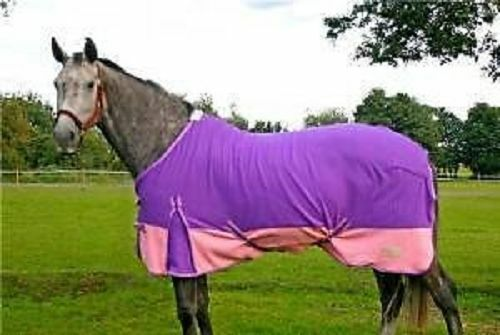 KNIGHT RIDER 5 FEET 9 INCHES HORSE FLEECE BLANKET RUG IN PINK & PURPLE