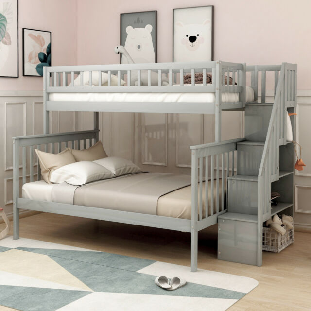 Twin Over Full Kids Bunk Beds Wood Loft Bunk bed with storage for Adult  Bedroom