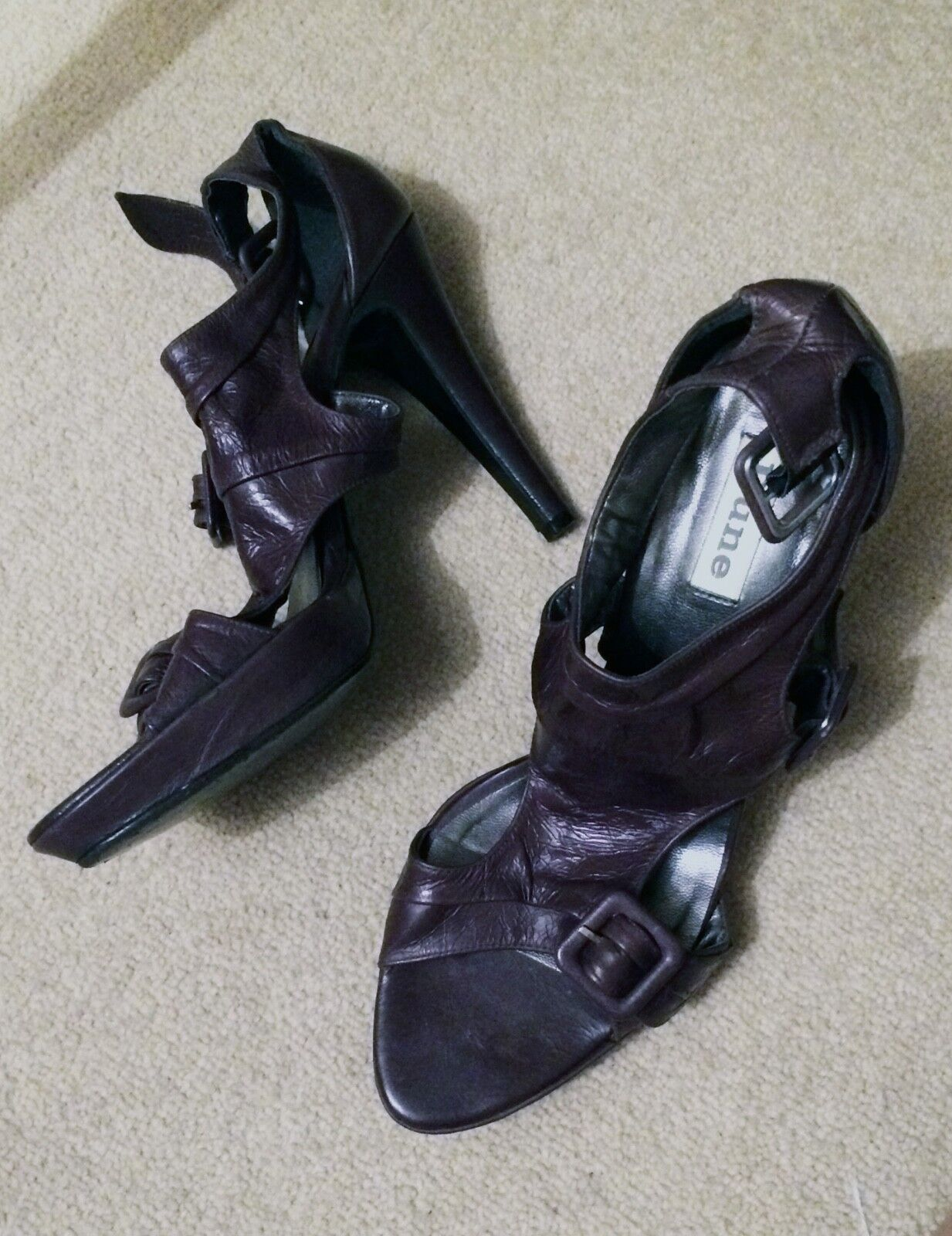 DUNE Charcoal Strappy High Heel Sandals -size eu 39   uk 6 - excellent condition