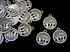20-Pcs-Tibetan-Silver-Tree-of-Life-Round-Charms-Pendant-Nature-Pagan-Wiccan-Q26