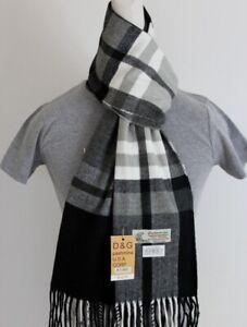 DG Men/'s Winter Scarf Check Plaid-White Black/'Cashmere Feel-Warm*Soft Unisex