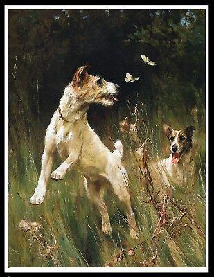 JACK RUSSELL FOX TERRIER CHASING BUTTERFLIES LOVELY DOG PRINT POSTER