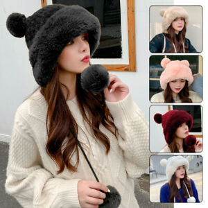 Ladies Faux Fur Knitted Bobble Beanie Hat Pom Pom Ball Cossack Russian Winter UK