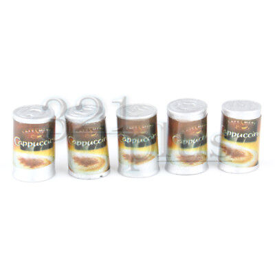 5 pcs Dollhouse Coffee 1:12 Scale Groceries Cans Shopping Basket Miniatur Supply