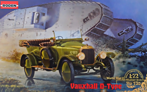 Roden-735-Vauxhall-D-type-Car-WWI-1-72-scale-model-airplane-kit-68-mm