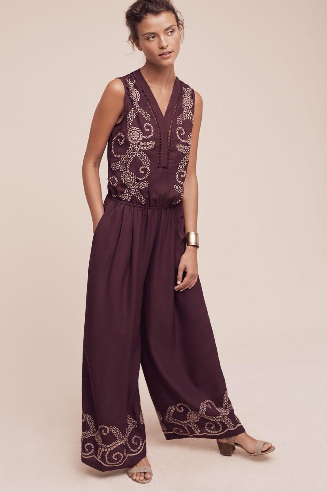 Anthropologie Teresa Embroidered Jumpsuit by Ranna Gill Size Sz Medium Petite MP