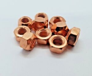 10-X-M8-COPPER-FLASHED-EXHAUST-MANIFOLD-NUT-8MM-NUTS-HIGH-TEMP