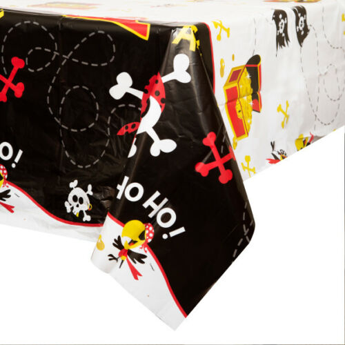 "PIRATE FUN TABLE COVER 54/""x 84/"" PLASTIC CHILDRENS BIRTHDAY PARTY TABLEWARE SKULL"