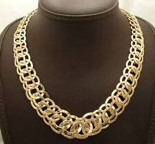 "18"" Bellezza Graduated Domed Interlocked Circle Chain Necklace Yellow Bronze"