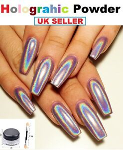 Image Is Loading Holo Nails Effects Ultra Fine Holographic Rainbow Chrome