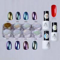 12pcs/set Red Gel Polish Nail Art Chameleon Chrome Mirror Glitter Pigment Powder
