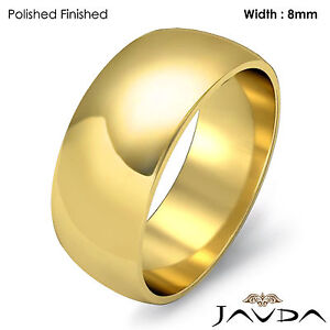 Solid 18k Gold Yellow Dome Mens Wedding Band High Polish Ring 8mm