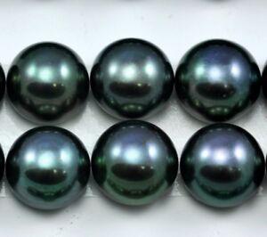 Paon Vert BOUTON noir demi-percé d/'eau douce Perles pour boucle d/'oreille Making AAA