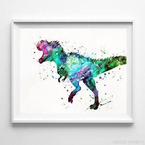 Tyrannosaurus Dinosaur Wall Art Watercolor Poster Home ...