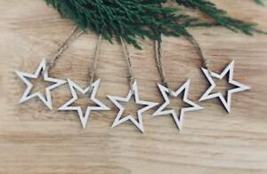 Details About Wooden Hanging Star Decoration Rustic Nordic White 5 X Stars Xmas