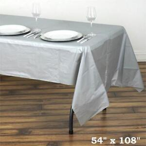 Silver Rectangle 54x108 Disposable Plastic Table Cover Tablecloth