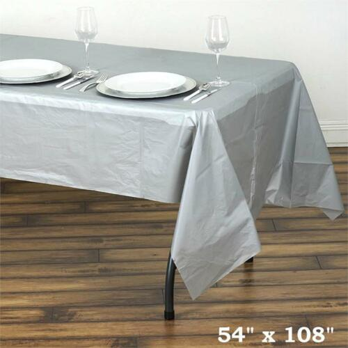 """Silver RECTANGLE 54x108/"""" Disposable Plastic TABLE COVER Tablecloth Party"""