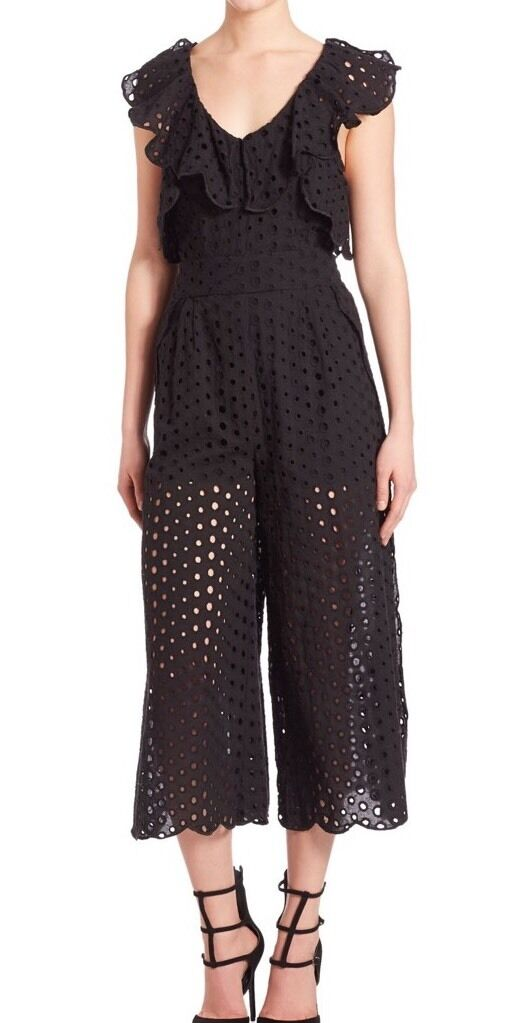 Kendall + Kylie Eyelet Ruffled Cotton Jumpsuit L 10  298