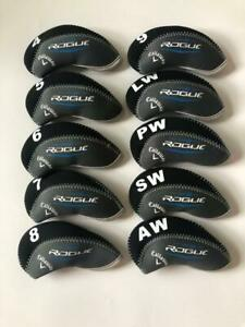10PCS-Iron-Headcovers-for-Callaway-Rogue-Club-Covers-Black-amp-Gray-4-LW-Universal